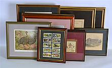 A BOX OF VARIOUS PRINTS together with framed cigar