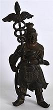 A 17TH CENTURY CHINESE BRONZE FIGURE OF A WARRIOR