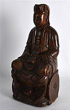 A 17TH/18TH CENTURY CHINESE CARVED WOOD FIGURE OF