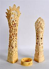 AN EARLY 20TH CENTURY BURMESE CARVED IVORY TUSK to