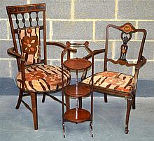 TWO EDWARDIAN ELBOW CHAIRS together with a cake st