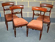 SET OF FOUR REGENCY MAHOGANY DINING CHAIRS with re