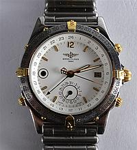A GOOD BREITLING STAINLESS STEEL AND YELLOW GOLD G