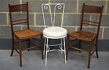 TWO EDWARDIAN BEDROM CHAIRS  together with another