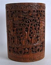 A LATE 19TH CENTURY CHINESE CARVED BAMBOO BRUSH PO