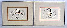 A PAIR OF INTERESTING FRAMED LITHOGRAPHS depicting