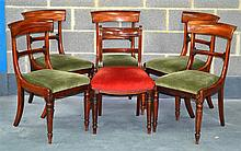 A SET OF FIVE WILLIAM IV DINING CHAIRS together wi