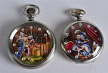 A PAIR OF SWISS 'EROTIC' DOXA POCKET WATCHES each