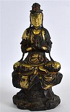 A CHINESE GILT BRONZE FIGURE OF GUANYIN Liao style