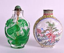 A 19TH CENTURY CHINESE CANTON ENAMEL FAMILLE ROSE SNUFF BOTTLE together wit