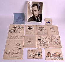 A COLLECTION OF 1930S CARTOONS together with a signed photograph of Peter C