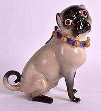A RARE MID 19TH CENTURY PORCELAIN FIGURE OF A PUG DOG after the Meissen mod
