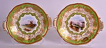 A PAIR OF COALPORT PORCELAIN PLATES painted with titled landscapes, one sig