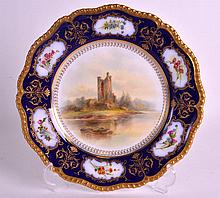 A ROYAL WORCESTER PORCELAIN CABINET PLATE painted with a Castle scene by Jo