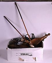 A COLLECTION OF EQUESTRIAN TOOLS together with golf clubs, a camera etc. (q