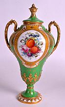 A GOOD ROYAL CROWN DERBY VASE AND CCOVER C1902 painted with fruit by Cuthbe