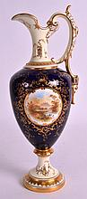 A COALPORT PORCELAIN EWER painted with landscapes by E O Ball. 10Ins high.