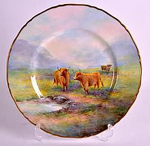 A FINE ROYAL WORCESTER CABINET PLATE painted with Highland Cattle by E Town