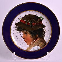 A LATE 19TH CENTURY CONTINENTAL CABINET PLATE painted with a portrait of a
