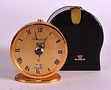 A GOOD SMALL JAEGER LE COULTRE CASED TRAVELLING CLOCK with seaweed design c