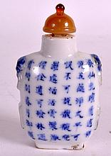 A 19TH CENTURY CHINESE BLUE AND WHITE SNUFF BOTTLE AND STOPPER bearing Qian
