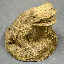 A LARGE STONEWARE GARDEN FROG.
