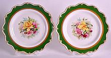 A PAIR OF ROYAL WORCESTER CABINET PLATES painted by Harry Chair (note Chair