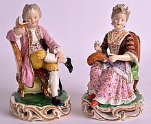 A PAIR OF 19TH CENTURY DERBY FIGURES OF A BOY AND GIRL modelled seated upon