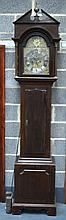 A VERY LARGE LATE 19TH CENTURY MAHOGANY CASED GRANDFATHER CLOCK with brass