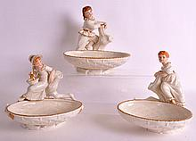 A LOVELY SET OF THREE ROYAL WORCESTER PORCELAIN FIGURAL DISHES each modelle