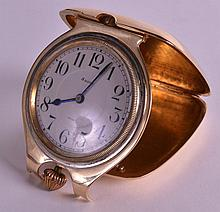 A GOOD EDWARDIAN 14CT YELLOW GOLD GENTLEMANS TRAVELLING CLOCK with eight da