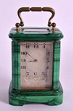 A LOVELY LATE 19TH CENTURY CARVED MALACHITE MINIATURE CARRIAGE CLOCK with s