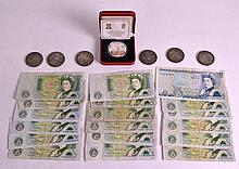 A COLLECTION OF VINTAGE BANK NOTES together with various Victorian coins. (