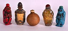 A PAIR OF CHINESE FIGURAL 'MONKEY' SNUFF BOTTLES 20th Century, together wit