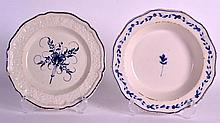 AN 18TH CENTURY FRENCH BLUE AND WHITE PLATE together with another similar b
