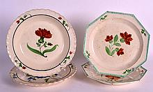 A PAIR OF 18TH/19TH CENTURY CREAMWARE OCTAGONAL PLATES together with two si