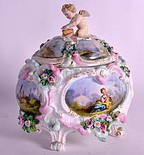 A MID 19TH CENTURY RUSSIAN PORCELAIN CASKET painted with classical scenes a