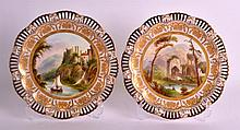 A LOVELY PAIR OF COALPORT PIERCED CABINET PLATES painted with Welsh rural s
