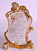 AN UNUSUAL EARLY 20TH CENTURY EUROPEAN BISQUE PORCELAIN MENU with gilt high