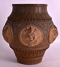 AN UNUSUAL 19TH CENTURY INDIAN STONEWARE VESSEL decorated in relief with (N