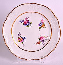 AN 18TH CENTURY SEVRES PORCELAIN MOULDED PLATE C1770 painted with flowers w