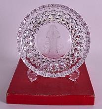 A BOXED WATERFORD CRYSTAL 'CHRISTMAS DISH'. 8Ins diameter.