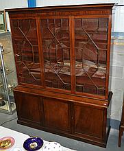 A VERY LARGE GEORGE III MAHOGANY DISPLAY CASE with glass doors and base wit