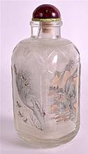A LARGE LATE 19TH CENTURY CHINESE RECTANGULAR GLASS SNUFF BOTTLE AND STOPPE