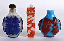 A 19TH CENTURY CHINESE BEIJING 'SNOWFLAKE' GLASS SNUFF BOTTLE AND STOPPER t