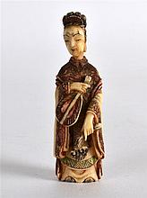 A LATE 19TH CENTURY CHINESE CARVED IVORY SNUFF BOTTLE AND STOPPER in the fo