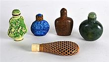 A COLLECTION OF FIVE EARLY 20TH CENTURY CHINESE SNUFF BOTTLES in various fo