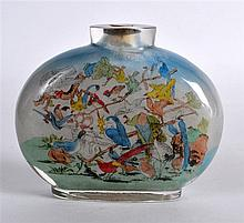 A VERY LARGE CHINESE REPUBLICAN PERIOD REVERSE PAINTED SNUFF BOTTLE decorat