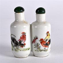 AN EARLY 20TH CENTURY CHINESE TWIN PORCELAIN SNUFF BOTTLE AND STOPPER Guang
