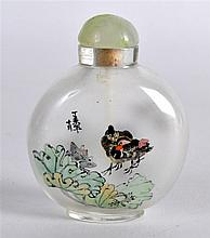 A CHINESE REPUBLICAN PERIOD REVERSE PAINTED SNUFF BOTTLE AND STOPPER painte